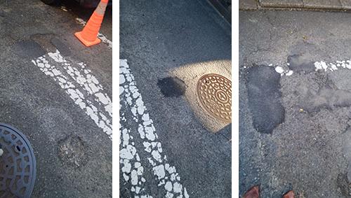 らん丈が補修させた、森野の市道で、補修前と補修後の写真(2ヶ所)